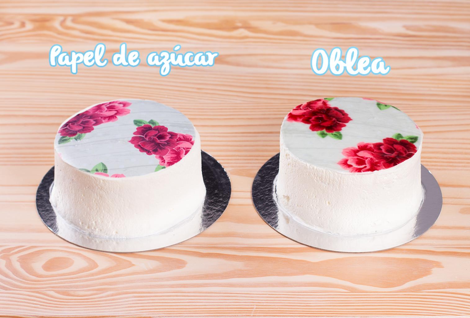 Impresiones comestibles sobre tartas cubiertas de nata